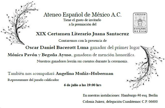 Premiación del Certamen Literario Juana Santacruz