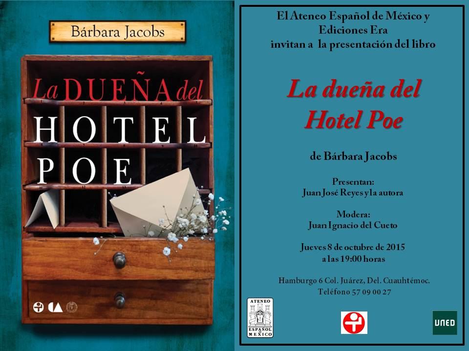 Invitación La dueña del Hotel Poe Bárbara Jacobs 8 de octubre